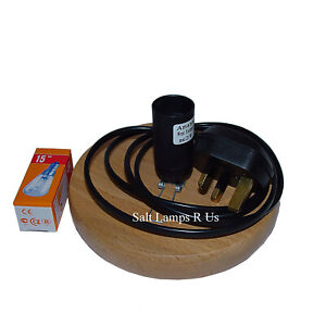 Circle Wood Base Lamp Polished Beautiful Shape G Fittings UK 3 Pin Plug Bulb