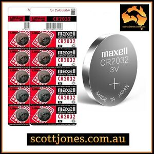 10 pc MAXELL CR2032 JAPAN Lithium Coin Cell Button 3V Battery Batteries Exp 2030