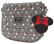 Loungefly x Minnie Head/Flower Print Grey Crossbody Bag - NEW!