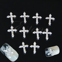 3D Crystal Cross Alloy Rhinestone Tie Nail Art Slices DIY Decorations 10Pcs
