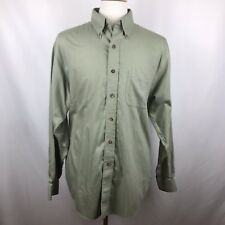 Brooks Brothers 346 Mens Large Olive Green Micro Stripe Button Down Shirt