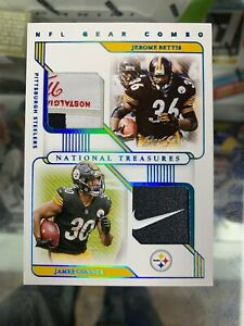 2020 National Treasures JEROME BETTIS JAMES CONNER 1/1 NFL GEAR COMBO Patch SJ