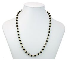 Black Spinel AAA Necklace Large Faceted Natural Gems 14k Gold Fill 24 Inch Chain