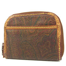 Auth ETRO Paisley Pattern PVC Leather Zip Around Coin Purse Wallet F/S 928