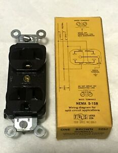 Hubbell 5252 Brown Duplex Receptacle Spec Grade 15A 125V
