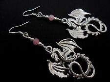 A PAIR OF TIBETAN SILVER DRAGON EARRINGS WITH 925 SOLID SILVER HOOKS. NEW..
