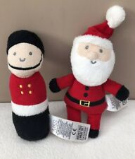 M&S Father Christmas Santa & Soldier Red Soft Rattle Baby Toys Xmas Bundle