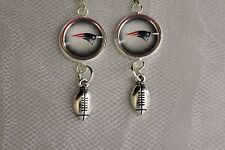 New England Patriots Earrings w/Football Charm Upcycled from Football Cards