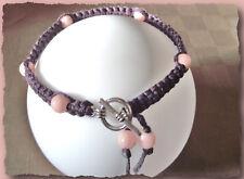 Bracelet Aubergine avec perles roses * fermoir Rond Fait Maison shamballa violet