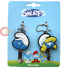 Loungefly The Smurf Key Cap with Smurfette Brainy 2pc Silicone Key Holder Set