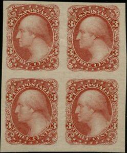 #184-E5h 3¢ 1877 PLATE ESSAY BLK/4 ON YELLOWISH WOVE XF-SUPERB GEM BP7893