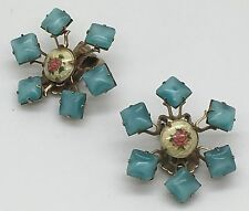 Guilloche Enamel Rose Clip  Earrings Riveted Turquoise Color  Snowflake Riveted