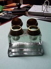 Calamaio di vetro massiccio doppio con coperchi in ottone da collezione anni 40/