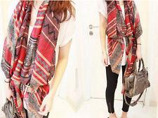 Lady Women's Stylish Bohemia Long Big Soft Cotton Voile Scarf Shawl Wrap red HOT