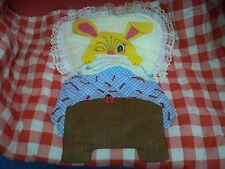 Vtg Handmade Hand Stitched Baby Quilt Bunny Rabbit Applique Embroidery Ladybug