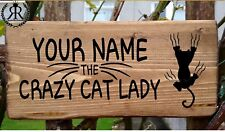Crazy Cat Lady Sign Name Plaque Door House Number Personalised Plate Fun Gift