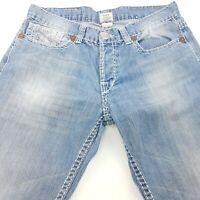 True Religion BILLY BIG T Mens Jeans W34 L31 Blue Regular Fit Straight Mid Rise