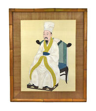 Large Early 20th Century Chinese Ancestral Portrait Painting Won Tai Bamboo Fram