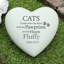 Personalised Engraved Cat Heart Memorial Garden Grave Ornament Heart loved Cat