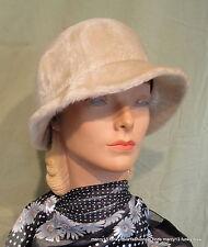 "Sweet Vintage 90's Beige Mariflex by Marida Faux Fur Cloche Hat  22.5"""