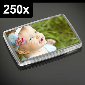 250x Premium Calidad Acrílico Transparente en Blanco Nevera Imanes 66 X 44MM L