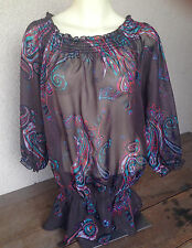 Inc Top Blouse Poly Chiffon Brown Rust Turquoise Pink Sheer 14 Shirring Peplum
