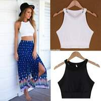 Womens Ladies Sleeveless Crop Top T-Shirt Vest Round Neck Stretch Plain