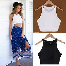 Women Sleeveless Crop Top Backless Vest Halter Tank Tops Short Blouse T-shirt White S