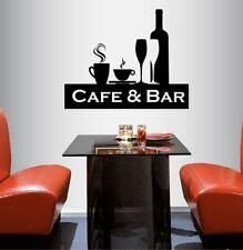 Vinyl Decal Cafe & Bar Drinks Coffee Tea Wine Cocktails Wall Decor Sticker 554