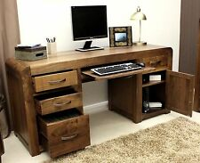 Shiro Walnut Solid Wooden Home Office Furniture Twin Pedestal Computer Desk