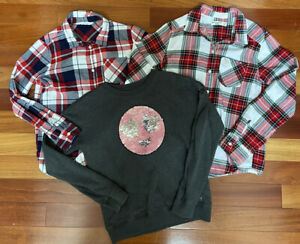 Lot 3 Abercrombie Kids H&M Girls Size 11/12 Long Sleeve Plaid Flannel Sequins