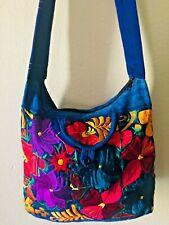 Mexican Embroidery Shoulder Bag womens Blue Crossbody bag boho purse hippie bag