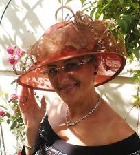 Damen Hut Orange Goldbraun Hochzeit Anlasshut Damenhüte Strohhüte Festlich