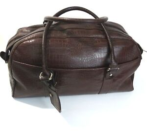 Bath And Body Works Duffle Bag Tote Brown Carry-On Overnight Bag Faux Croc