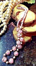 PORCELAIN AND CLEAR VENETIAN RETICELLO GOLD FOIL HAND PAINTED PINK BEAD NECKLACE
