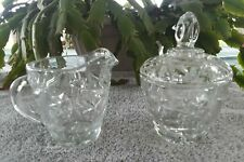 Vintage Cut Glass Creamer And Sugar Bowl with lid star pattern