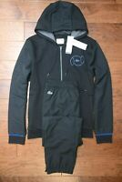Lacoste Sport WH9517 $250 Mens Black Fleece Cotton/Poly Hooded Tracksuits M EU 4