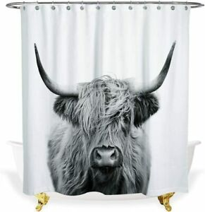 Black and White Cute Highland Cow Funny Humor Farmhouse Shower Curtain