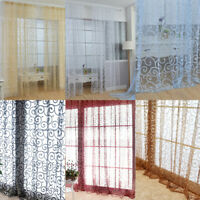 Exquisite Floral Tulle Voile Window Curtains Drape Panel Sheer Scarf HOT