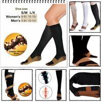 Fashion Unisex Copper Infused Compression Socks 20-30mmHg Graduated S-XXL