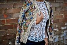Tapestry Embroidered Jacket With Pearl Frill Worn With ZARA Swiss Dot Top UK 14