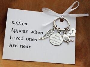 In Loving Memory Gift Keyring +Card  - ROBIN APPEAR KEYRING MUM DAD NANA GRANDMA