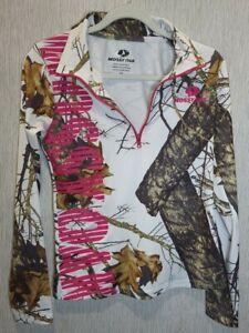 Mossy Oak Country Womens 1/4 Zip Performance Shirt Medium Long Sleeve Camo Pink