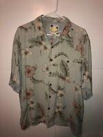 Banana Cabana Men's Hawaiian Floral Shirt Size XL 100% Silk Palm Trees NICE