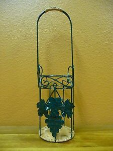 Round Green Wire Wine Bottle Basket With Grapes & Leaves