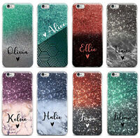 Personalised Name Initials Glitter iPhone 5 6 6s 7 8 Plus X Phone Case Cover #44