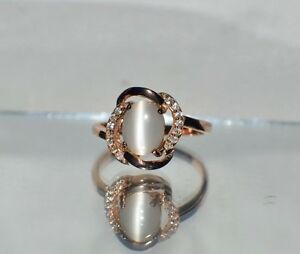 GLAMOROUS 1.57ct NATURAL OPAL CATS EYE 14K Y GOLD OVERLAY STERLING  SILVER RING