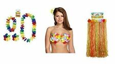 6 PCS HAWAIIAN TROPICAL FANCY DRESS SET HULA SKIRT NECKLACE 2PCS BRACELETS BRA