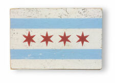319J - Chicago Flag Sign - rustic wooden sign approx size 7 x 10.