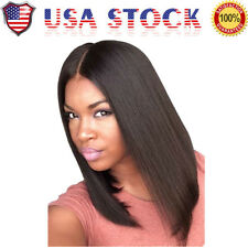 Fashion Medium Straight Middle Part Women's Hair Wig Bob Full Wigs Natural Black